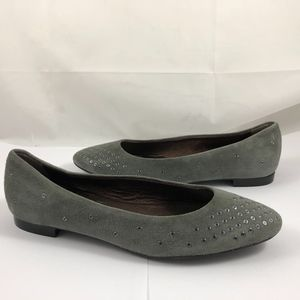 AGL Grommet Suede Leather Slip On Flats Shoes